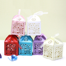 100pcs Roses Flower Laser Cut Hollow Carriage Favors Box Gifts Candy Boxes With Ribbon Baby Shower Wedding Event Party Supplies(China)