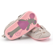Cute Baby Girls First walkers Cotton Grey Cartoon Mouse Soft with Pattern Shading Soft Sole Baby Toddler Prewalkers Shoe 3 sizes(China)