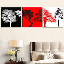 Unframed 3 sets Canvas Painting Red White Black Trees Art Cheap Picture Home Decor On Canvas Modern Wall Prints Artworks