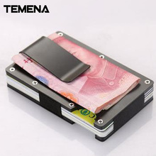 Temena Metal Mini Money Clip Brand Fashion Black Silver Credit Card ID Holder With Magnetically Shielded Anti-Theft ACH254