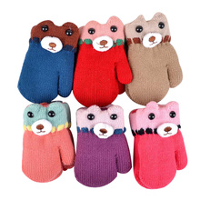 Bear Winter Baby Gloves Cartoon Warm Kids Mittens Knitted Cotton Baby Gloves For Girls Boys Crochet Mittens Baby Accessories(China)