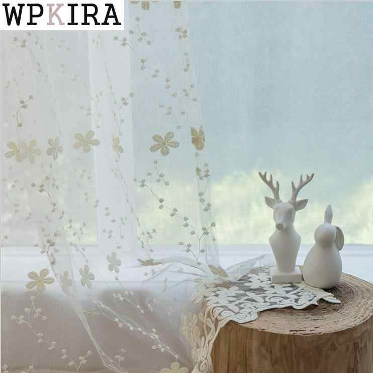 Embroidered Sheer Voile Curtains Window Drapes Cortina for Living Room Door Beige Lace Curtains Tulle Windows 058&30