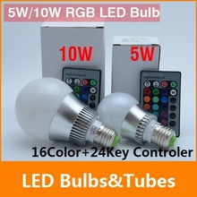5w 10w E27 LED RGB bulb AC110~240V multicolor COLOUR LED Bulb Spot Light  Lamp +24 key Remote controller Bright Limited Offer