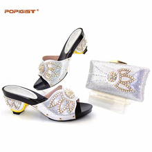 Summer sunshine silver color mylady Italian Global free DHL express Fashion Simple Rhinestone Shoes And Bag Set For Party(China)