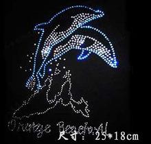hotfix Applique round glass crystal rhinestones clothing T-shirt neckline  prethoracic decoration clear blue dolphin V151 51479080baf0