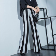 2017 Fashion Summer Women's Linen Pants Big Large Size Woman Casual Black and White Striped Wide Leg Trousers Lady Loose Pants
