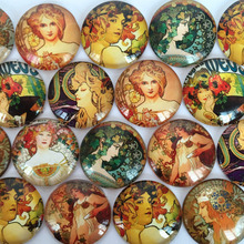 ZEROUP round glass cabochon oil painting pictures mixed pattern fit base setting for jewelry 20pcs/lot TP-067-R(China)