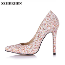 Luxury Women Pumps Bling High Heels Women Pumps Glitter High Heel Shoes Woman Sexy Wedding Party Shoes Gold Silver 119-b8(China)