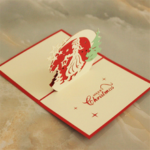 Pop up 3D Xmas Greeting Card Merry Christmas Girl Tree Stars Laser Carving Party Invitation Cards(China)