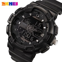 SKMEI 1189 Men Sport Digital Wristwatches Chronograph Alarm Clock Outdoor Full Black Dual Time Display Watches(China)
