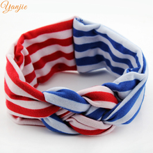 10pcs/lot 4th of July America Headband Patriotic Red White Blue Stripe Headband 2017 Chic Kot Tie Kids Girl DIY Hair Accessories(China)