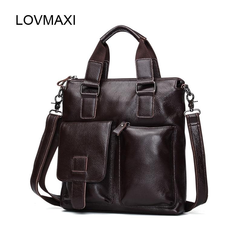 LOVMAXI Leather Mens Bags Casual Leather Shoulder Bag Genuine Leather Mens Vintage Handbags Business Messenger Bag Briefcases<br>