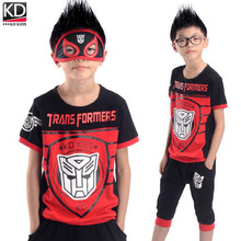 New Children Summer Clothing Sports Outfit for Boy Kids Sports Suit Cotton Short sleeve T shirt middle pants Ironman Mask Set