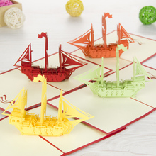 1pc 3D Paper Laser Cut Handmade Sailing Boat Shape PostCard Greeting Cards School Party Business Message Invitation Card
