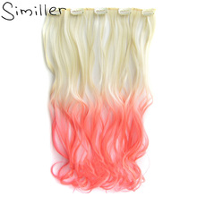 "Similler 9 Colors 55cm 22"" One Piece 5 Clip In Hair Extension High Temperature Synthetic Gradient Hair Long Curly Hairpiece"