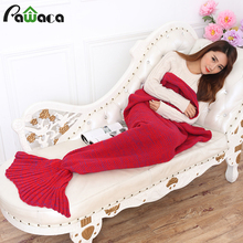 2017 New Fashion Mermaid Knitted Sofa Blanket Air Conditioning Blankets TV Blankets Handmade Sofa Blankets Mermaid Tail