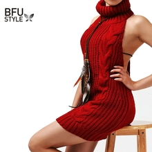 Sexy Backless Women Sweaters 2017 Summer Turtleneck Sleeveless Long Virgin Killer Sweater Japanes Knitted Pullovers Poncho