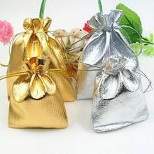 Vintage Style Gold/Silver Color Wedding Party Banquet Candy Gift Bags Drawstring Organza Voile Jewelry Pouch Favor Bag 25pcs/set(China)