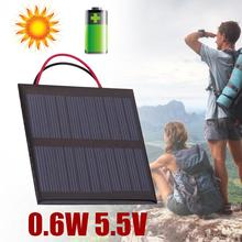 Wire Cable Polycrystalline 0.6W 5.5V Solar Panel Board Epoxy Plate Charger Black Outdoor Travelling Powerbank Charging Module