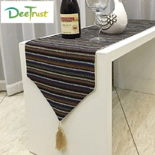 Vintage National Style Cotton & Linen Striped Table Runners Luxury Tablecloth Wedding Table Cover Wedding Decoration Home Deco