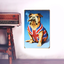 European Retro style bulldog sign board metal Wall stickers iron crafts picture Furnishing articles painting draw bar house