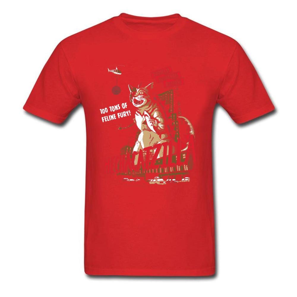 Normal Mecha Catzilla V2 23216 Short Sleeve Lovers Day Tops & Tees Newest Crewneck Cotton Fabric Tops Shirt Men Tshirts Mecha Catzilla V2 23216 red