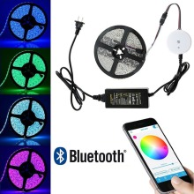 5050 LED Strip Light Waterproof Color Changing LED Strip RGB Rope Light Kit + Bluetooth Smartphone APP Controller + 24V Power