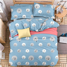 Simple Design Cute Cat Blue Quilt Cover Printing White Circle Kids/Adult Twin/Queen/King/Double Size Bedspread Bed Linen