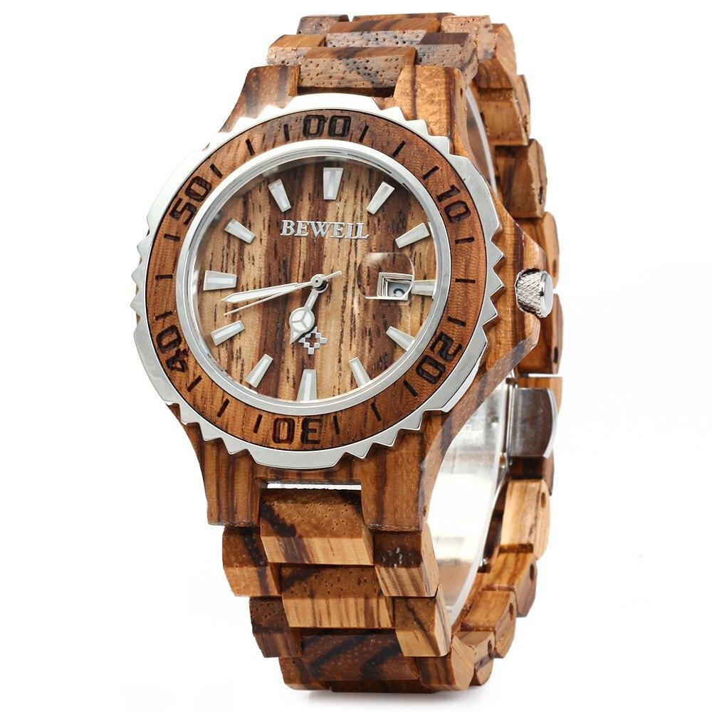 BEWELL Luxury Brand Wooden Men Quartz Watch with Luminous Hands Calendar Water Resistance Analog Wrist watches reloj hombre<br>