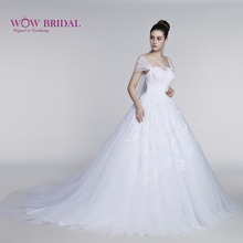 Wowbridal White Wedding Dress Embroidery Cape Sleeve Sweetheart vestido de noiva Appliqued Lace Bridal Gown Wedding Dress
