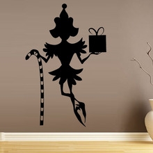 Holding Crutch Gift Elf Wall Sticker Girls Bedroom Decorative Vinyl Removable Christmas Wall Decal