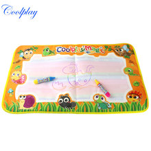 Coolplay 50pcs 59x36cm colorful rainbow water drawing mat with 2 magic pen doodle mat rug for painting CP2322-2(China)