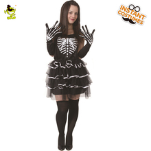 Adult's Ghost Bone Costume Womens Sexy Skeleton Dress With Mask For Masquerade Fancy Dress Costume Free Shipping(China)