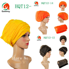 "Wholesale African turban gele with beads net Solid African headtie 9colors Width72""*22""African scraf headwrap gele for women."
