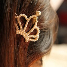 1 piece 2016 Chic Golden hair Accessories girls pearl crown style hairpin side-knotted hair clip women headdress bow barrette