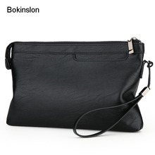 Bokinslon Men PU Leather Hand Bags Fashion Large Capacity Handbags Man Casual Practical Business Bags For Male