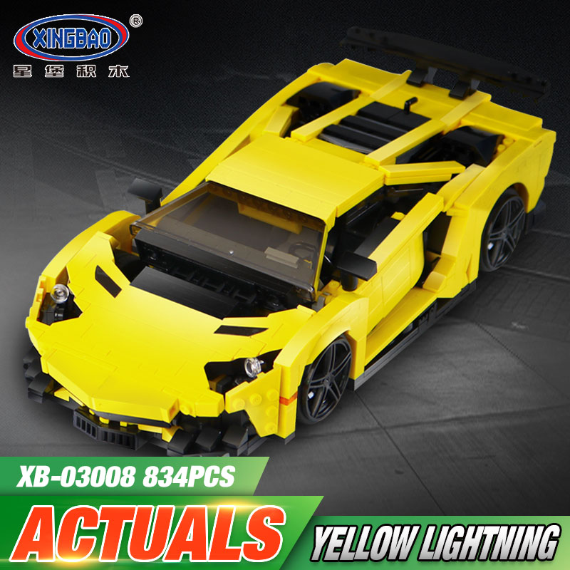 XingBao 03008 924Pcs Creative MOC Technic Series The Yellow Flash Racing Car Set Educational Building Blocks Bricks Toys Model<br>
