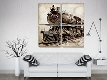 "4 in 1 train locomotive giclee printe Canvas art for gallery wrap 40*40"" unframeWall Pictures Home Decoration, Wall Decor(China)"