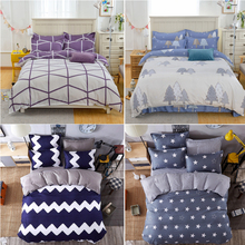 Fashion 4Pcs Twin/Full/Queen/King Size Bedding Linen Quilt/Duvet/Doona Cover Set Purple Geometric Lines Blue Bold Chevron Stars