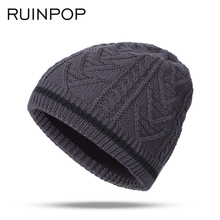 RUINPOP Winter Hats Cap Men Stocking Hat Beanies Stripe Knitted Hip Hop Hat Male Female Warm Wool Boy's Cap Winter Unisex Beanie