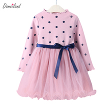 2017 New Fashion Brand Children Clothes for cute girl cotton print dot Floral dress Princess ruffle bow dress Kid Party clothing(China)