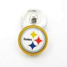 20pcs/lot Pittsburgh Steelers NFL Teams Snap Buttons DIY 18mm Glass Football Sports Ginger Snap Jewelry Bracelets&Bangles