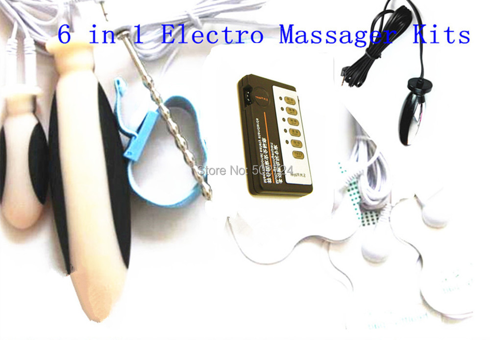 Super Adult Games 6 in 1 Medical Themed Toys Electro Shock Body Massager Pads Sound Anal Plug Penis Ring Vaginal Plug For Lover<br>