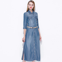 Single breasted jeans dress 2017 new brand runway women summer dress top quality fashion turn-down collar mid-calf a-line dress(China)