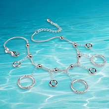 Free delivery women 925 sterling silver anklets.29cm long.Fashion jewelry Circular tassel chains anklet