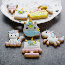 1 Set Unicorn Cookie Stamps Stainless Steel Cookie Biscuit Decoration Mold Animal Shape Cookie Cutters(China)