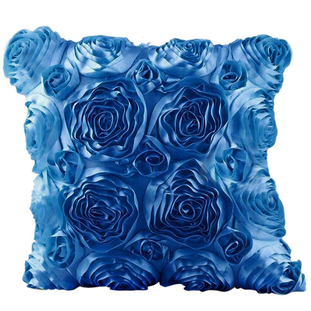 Blue decorative bed pillows - 2pcs 40x40cm Blue Rose Flower Cover Home Bed Square Single Decorative Throw Pillow Case