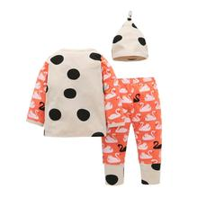 Infant Clothing Size Baby Girl Boy Swan Print T shirt Tops+Pants+Hat Outfits Girls Clothing Sets China Clothing Factories