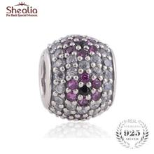 SHEALIA High Quality Zirconia Pave Ball Bead 925 Sterling Silver Cherry Blossom Beads For Jewelry Making Diy Charm Bracelets