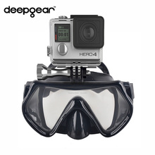 Deepgear Camera scuba mask Black silicone one window scuba diving mask for Gopro Hero Xiaomi yi Sj cameras Adult snorkel mask